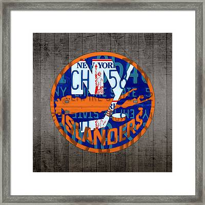 Islanders Hockey Team Retro Logo Vintage Recycled New York License Plate Art Framed Print