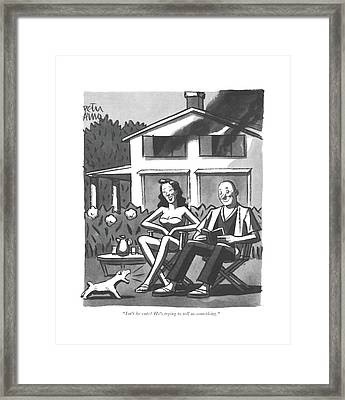 Isn't He Cute? He's Trying To Tell Us Something Framed Print by Peter Arno