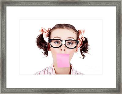 Isolated Female Receptionist Taking Phone Message Framed Print
