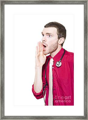 Isolated Gp Doctor Shouting Out Health Message Framed Print