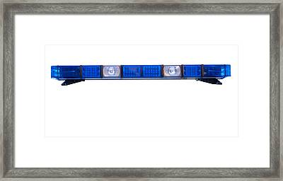 Isolated Police Emergency Light Roof Bar Framed Print by Fizzy Image