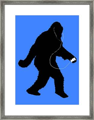 iSquatch - on Blue Framed Print by Gravityx9 Designs