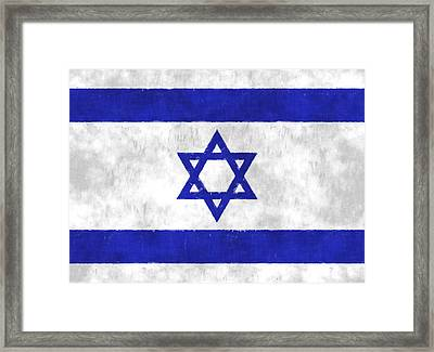 Israel Flag Framed Print by World Art Prints And Designs