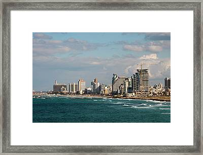 Israel, Jaffe, Beachfront High-rises Framed Print by Ellen Clark