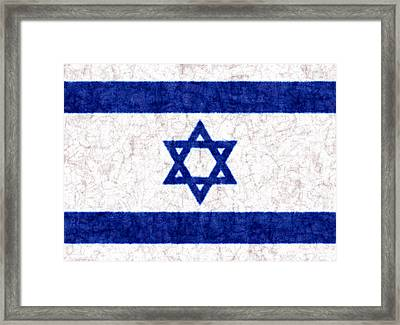 Israel Star Of David Flag Batik Framed Print