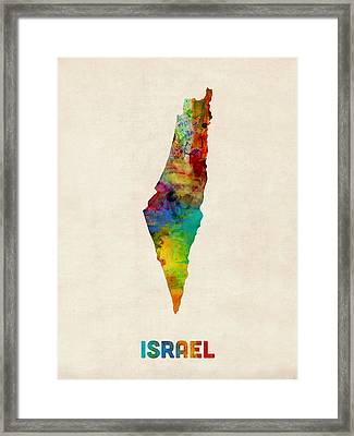 Israel Watercolor Map Framed Print by Michael Tompsett