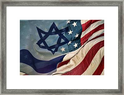 Israeli American Flags Framed Print by Ken Smith