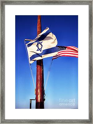 Israeli Flag And Us Flag Framed Print by Thomas R Fletcher