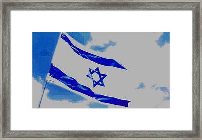 Framed Print featuring the photograph Israeli Flag by Diane Miller