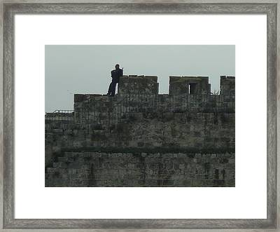 Israeli Soldier On The Walls Of The Old City Framed Print