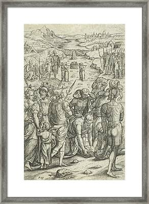 Israelites Cross The Jordan, Pieter Huys Framed Print