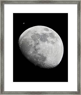 Iss And The Moon Framed Print by Science Photo Library