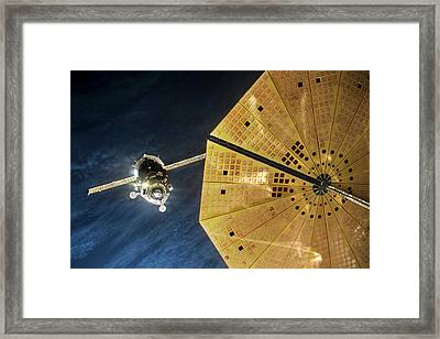 Iss Expedition 46 Approaching Iss Framed Print by Nasa