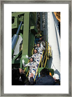 Iss Expedition 46 Crew At Launch Pad Framed Print