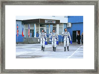 Iss Expedition 46 Crew Before Launch Framed Print by Nasa/victor Zelentsov