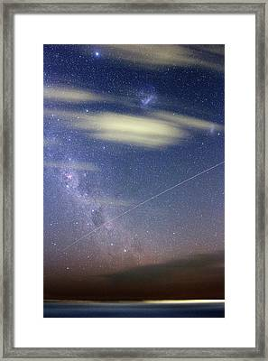 Iss In Southern Hemisphere Skies Framed Print by Luis Argerich