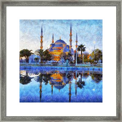 Istanbul Blue Mosque  Framed Print by Lilia D