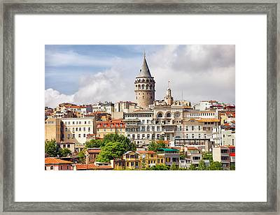 Istanbul Cityscape And Galata Tower Framed Print by Artur Bogacki
