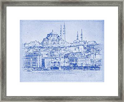Istanbul Skyline Blueprint Framed Print by Kaleidoscopik Photography