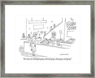 It Comes In Midnight Gray Framed Print