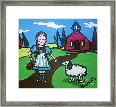 Framed Print featuring the painting It Followed Her To School One Day by Joyce Gebauer