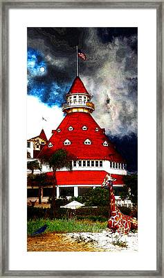 It Happened One Night At The Old Del Coronado 5d24270 Stylized Long Framed Print by Wingsdomain Art and Photography