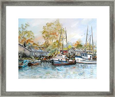 It Is A Busy Day Here At The Marina Framed Print