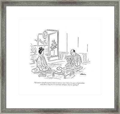 It Seems There's A Good Deal Of Unrest Framed Print by  Alain