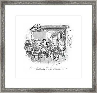It Seems To Have Gone Downhill Terribly - Last Framed Print by Helen E. Hokinson
