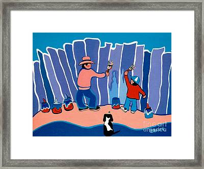 It Takes Three To Paint A Fence Framed Print