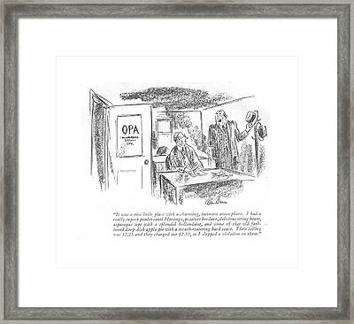 It Was A Nice Little Place With A Charming Framed Print by Alan Dunn