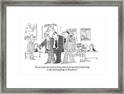 It Was Either The Knish In Coney Island Framed Print by Arnie Levin