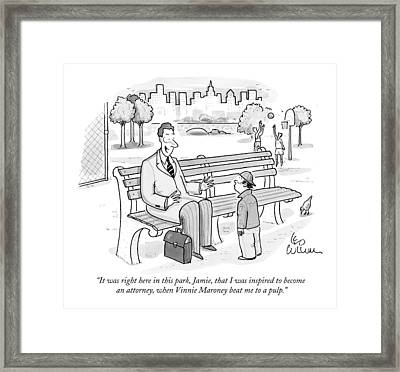 It Was Right Here In This Park Framed Print by Leo Cullum