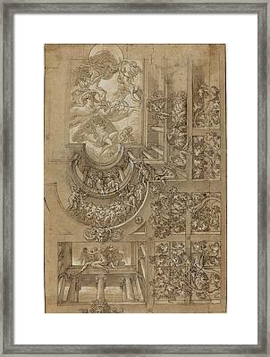 Italian 16th Century, Illusionistic Ceiling With A Grape Framed Print
