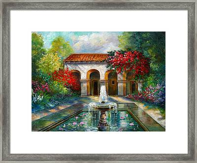 Italian Abbey Garden Scene With Fountain Framed Print by Regina Femrite