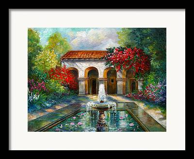 Garden Scene With Fountain Framed Prints