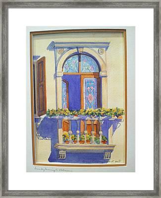 Italian Balcony In Spring Framed Print