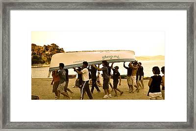 Italian Boys Loading Boat Framed Print