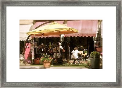 Italian Cafe Street Scene Framed Print