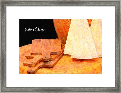Italian Cheeses And Cutting Boards Framed Print