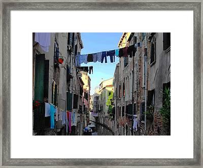 Italian Clotheslines Framed Print by Natalie Ortiz