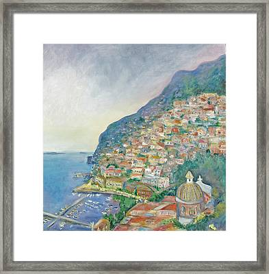 Italian Coast At Dusk Framed Print