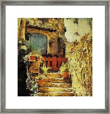 Italian Courtyard Framed Print by Dragica  Micki Fortuna
