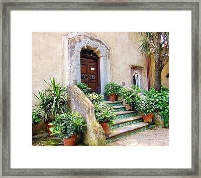 Italian Door And Staircase In Ravello Framed Print