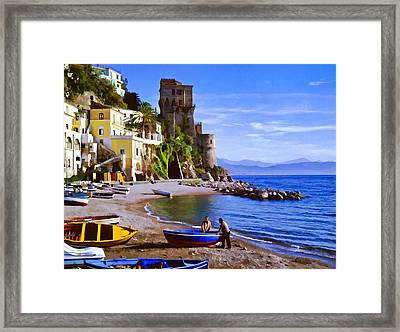 Italian Fishermen On The Amalfi Coast Framed Print