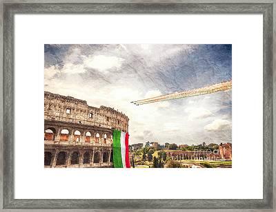 Italian Flag In Rome Framed Print