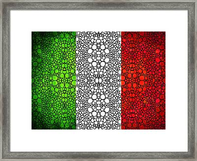 Italian Flag - Italy Stone Rock'd Art By Sharon Cummings Italia Framed Print by Sharon Cummings