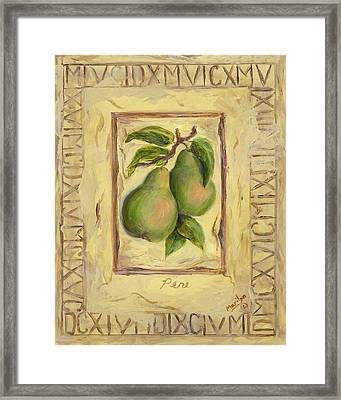 Italian Fruit Pears Framed Print by Marilyn Dunlap
