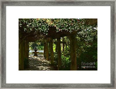 Italian Garden Pergola And Fountain Framed Print