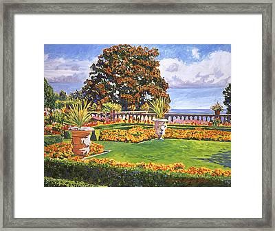 Italian Gardens Ocean View Framed Print